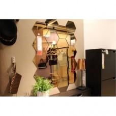 Altıköşe Altıgen Geometrik Hexagon 3mm Akrilik 18x16cm Arkası Etli Bantlı Kırılmaz Kristal Gibi Ayna