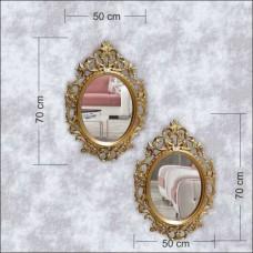 Oval Elips İşlemeli Desenli Rustik Çerçeve Ferforje Oymalı Altın Yaldız Sarı Duvar Boy Banyo Aynası