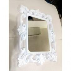 M3 Beyaz Rustik Desenli Oymalı İşlemeli Kare Çerçeveli 60x80cm Boy Banyo Salon Koridor Duvar Aynası