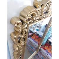 Altın Rustik Desenli Oymalı İşlemeli Çerçeveli 65x125cm Boy Banyo Salon Antre Koridor Duvar Aynası