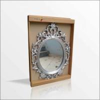 Gümüş Simli Yaldız Rustik İşlemeli Kıvrak Desenli Oymalı Duvar Boy Banyo Lavabo Tuvalet Salon Aynası