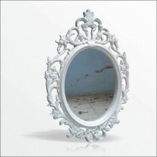 Antik Oymalı Desenli İşlemeli Kıvrımlı Rustik Beyaz Çerçeveli Askılı Boy Banyo Lavabo Duvar Aynası