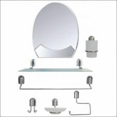 Metal Krom Havluluk Fırçalık Sabunluk Askılı 45x60cm Banyo Tuvalet Lavabo Boy Duvar Ayna Takımı Seti