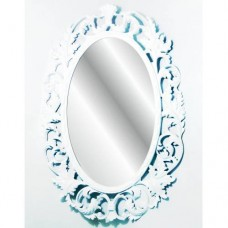Antik 103cm Oymalı Desenli İşlemeli Rustik Beyaz Çerçeveli Askılı Boy Banyo Lavabo Antre Duvar Aynası