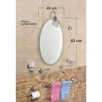Çift Camlı 8 Parça 63x43cm Dev Büyük Otel Banyo Cafe WC Tuvalet Lavabo Üstü Üzeri Boy Aynası Seti