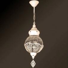 Tekli Krem Rustik İşlemeli Osmanlı Motifli Tavandan Sarkıt Sarkan Çatlatma Küre Yuvarlak Camlı Avize