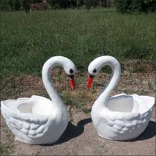 Gerçek Gibi Sepetli Saksılı Kuğu İç ve Dış mekan 50 cm Saksı Sepetli Mermer Bahçe Heykeli