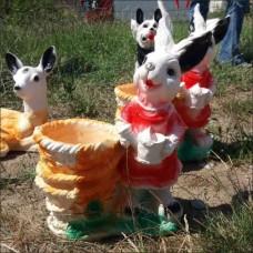 Gerçek Gibi Sepetli Tavşan İç ve Dış mekan 42 cm Mermer Bahçe Kapı Yanı Anahtarlık Saksı Heykeli