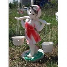 Gerçek Gibi Sepetli Yoğurtçu Kız İç ve Dış mekan 55 cm Boyunda Saksılı Sepetli Mermer Bahçe Heykeli