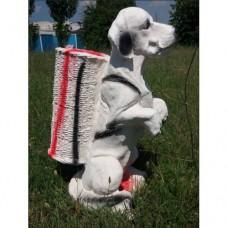 Gerçek Gibi Kemikli Köpek Tasarımlı İç ve Dış mekan 55 cm Şemsiyelik Sepetli Mermer Bahçe Heykeli