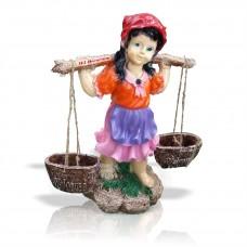 Gerçek Gibi Saksılı Sepetli Yoğurtçu Testili Kız 75 cm Boyunda Mermer Tozu Dış Mekan Büyük Bahçe Heykeli