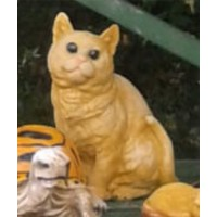 Avusturya Tüylü Orman Sarı Tekir Kedisi Dış Mekan Bahçe Heykeli