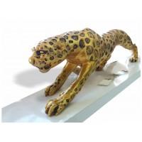 Büyük Dev Ebat 80cm Altın Yaldız Varak Renk Yürüyen Leopar Aslan Kedi Kaplan Maketi Biblosu Heykeli
