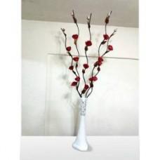 M3 Uzun Dallı 160cm Kırmızı Güllü Desenli Beyaz Geniş Taban Fil Ayağı Devrilmez Long Vase 60 cm Vazo