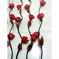 Uzun Saplı Dallı 160 cm Kırmızı Güllü Vazo İçin 5 Adet Five Long Red Flowers Tomurcuklu Uzun Çiçek