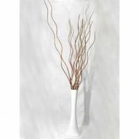 Düz Dengeli Devrilmez Geniş Taban 60 cm Uzun Beyaz Vazo ve 15 Adet Kahverengi Ahşap 160 cm Uzun Dal