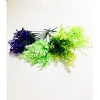 Yeşil Tonları ve Mor Yapraklar Dolgun 4 Adet Gerçek Gibi Çiçek