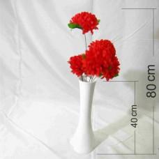 40 cm Uzun Düz Dengeli Yıkılmaz Devrilmez 5 Kırmızı Çiçekli Derin Beyaz Kaliteli Akrilik Sağlam Vazo