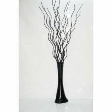 Uzun Siyah Ahşap Kıvrımlı Dalgalı 160cm 15 Dal 60 cm Desenli Uzun Siyah Dengeli Devrilmez Derin Vazo