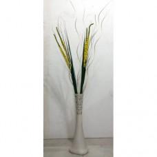 60cm Desenli Beyaz 4 Yapraklı Mısır Koçanı 7 Krem Doğal Dal Köşe Masa Vestiyer Uzun Geniş Taban Vazo