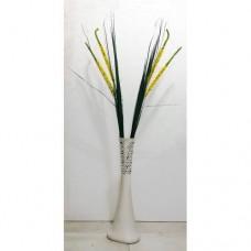 Mısır Koçanlı 140cm Yapay Çiçekli 60cm Desenli Beyaz Köşe Masa Antre Merdiven Toplantı Odası Vazosu