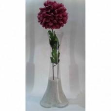 40 cm İçi Taşlı Geniş Taban Fil Ayağı Uzun Devrilmez Mor Ortanca Çiçekli Kristal Cam Islak Kuru Vazo