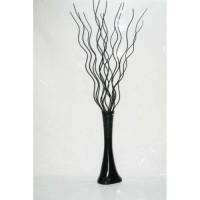 Uzun Köşe Masa Vazosu için 160 cm Boyunda Sadece 15 Adet Mat Siyah Ahşap Kıvrımlı Dalgalı Uzun Dal