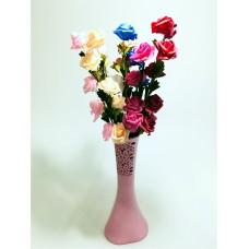 Uzun Saplı 5 Başlı 7 Renk Güllü 40cm Desenli Pembe Vazo