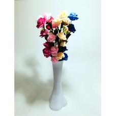 Uzun Saplı 5 Başlı 7 Renk Güllü 40cm Düz Beyaz Akrilik Vazo