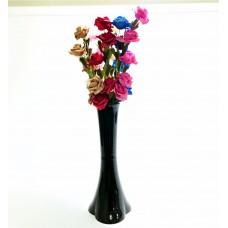 Uzun Saplı 5 Başlı 7 Renk Güllü 40 cm Siyah Düz Vazo