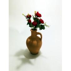 Kırmızı Gelincik Dolgun Çiçekli Kulplu Testi Vazo