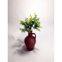 Yeşil Yapraklar Dolgun Çiçekli Kulplu Testi Vazo