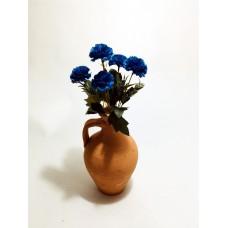 5 Başlı Mavi Karanfil Dolgun Çiçekli Kulplu Testi Vazo