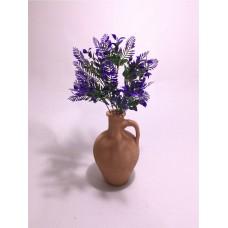 Mor Yapraklar Dolgun Çiçekli Kulplu Testi Vazo