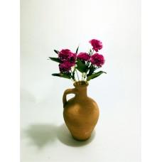 5 Başlı Yeşil Yapraklı Mor Karanfil Dolgun Çiçekli Kulplu Testi Vazo