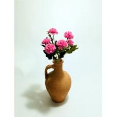 5 Başlı Yeşil Yapraklı Pembe Karanfil Dolgun Çiçekli Kulplu Testi Vazo
