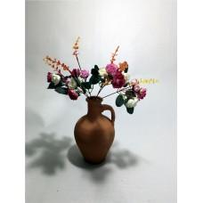 Beyaz Pembe Güller Dolgun Çiçekli Kulplu Testi Vazo