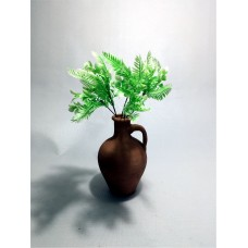 Açık Yeşil Yapraklar Dolgun Çiçekli Kulplu Testi Vazo