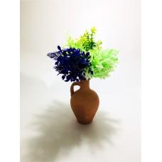 Mor Yeşil Açık Yeşil Yapraklar Dolgun Çiçekli Kulplu Testi Vazo
