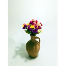 7 Renk Fındık Tomurcuk Güllü Dolgun Çiçekli Kulplu Testi Vazo