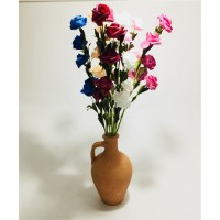 Uzun 7 Renk Gül Dolgun Çiçekli Kulplu Testi Vazo