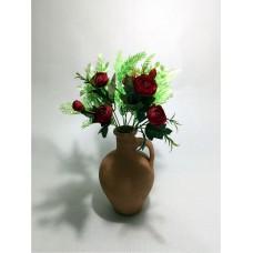 Yeşil Yapraklar Kırmızı Gelincik Dolgun Çiçekli Kulplu Testi Vazo