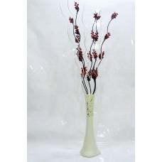 60 cm Desenli Krem Vazo, 5 Adet Kırmızı Üzüm Çiçek 5 Adet Krem Dal