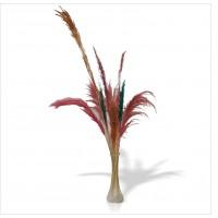 Uzun Deve Tüylü Çok Püsküllü Sazlık Çiçeği Kamış 8 Adet Bambu Dallı Cam Vazo