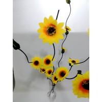 Uzun Sarı 5 Adet 160cm Ayçiçeği Gündoğdu Çiçeği Dallar Dengeli Devrilmez Geniş Taban 40 cm Cam Vazo