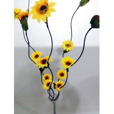 Düz Dengeli Devrilmez Geniş Taban 60 cm Cam Vazo ve 5 Adet 160cm Ayçiçeği Gündoğdu Çiçeği Uzun Dal