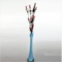 Uzun 15 Kırmızı Salkım Üzümlü 5 Siyah Dal Çatlatma Şeffaf Transparan Buz Mavisi 80 cm Konik Cam Vazo