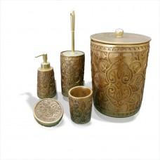 Altın Yaldız 5 li Parça Kapaklı Kovalı Fırçalı Fırçalıklı Sıvı Katı Sabunluklu Banyo WC Tuvalet Seti
