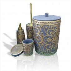 Altın Yaldız Mavi 5 li Kapaklı Kovalı Fırçalı Fırçalıklı Sıvı Katı Sabunluklu Banyo WC Tuvalet Seti