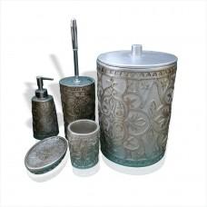Gümüş Yaldız 5 li Parça Kapaklı Kovalı Fırçalı Fırçalıklı Sıvı Katı Sabunluklu Banyo WC Tuvalet Seti